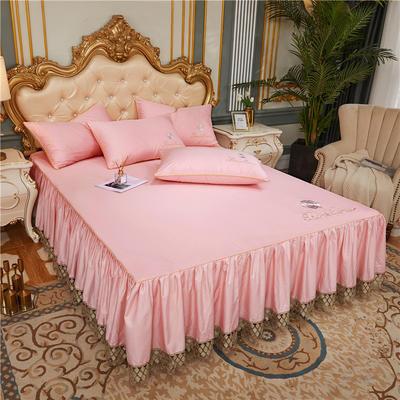 60支长绒棉山茶花系列单层床裙 150cmx200cm 粉玉