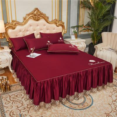 60支长绒棉山茶花系列单层床裙 150cmx200cm 酒红