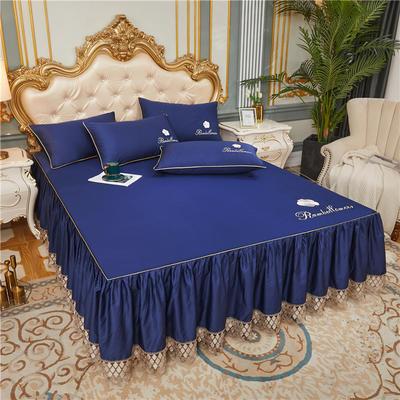 60支长绒棉山茶花系列单层床裙 150cmx200cm 宝蓝