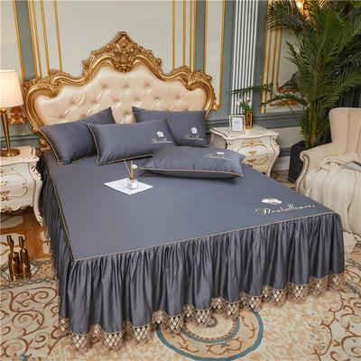60支长绒棉山茶花系列单层床裙 150cmx200cm 绅灰
