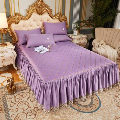 60-支长绒棉-山茶花系列-加棉床裙 150cmx200cm 丁香紫