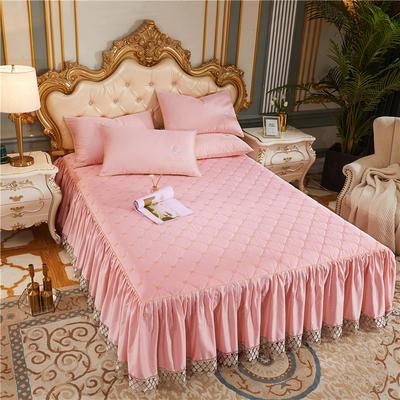 60-支长绒棉-山茶花系列-加棉床裙 150cmx200cm 粉玉色