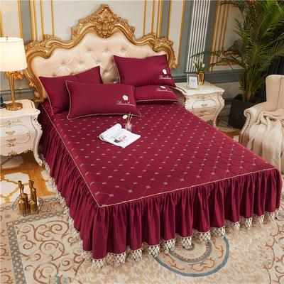 60-支长绒棉-山茶花系列-加棉床裙 150cmx200cm 酒红