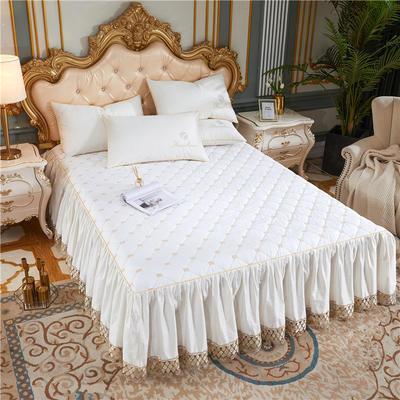 60-支长绒棉-山茶花系列-加棉床裙 150cmx200cm 米白色