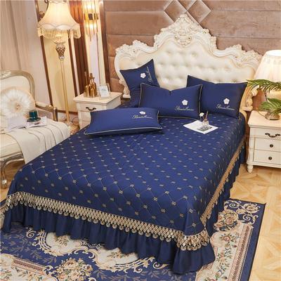 2020新款-60-支长绒棉-山茶花系列床盖 床盖250*250cm 宝蓝