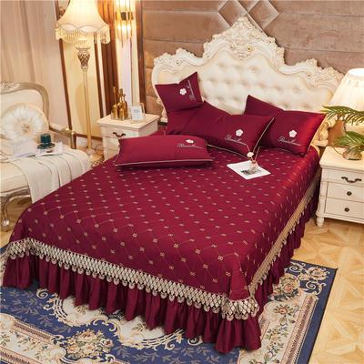 2020新款-60-支长绒棉-山茶花系列床盖 床盖250*250cm 酒红