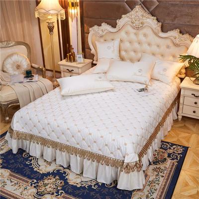 2020新款-60-支长绒棉-山茶花系列床盖 床盖250*250cm 米白