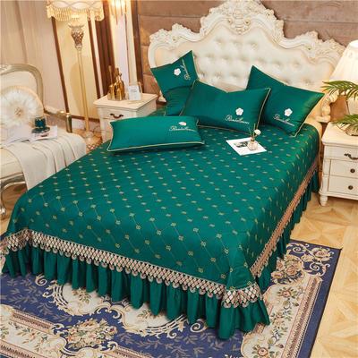 2020新款-60-支长绒棉-山茶花系列床盖 床盖250*250cm 墨绿