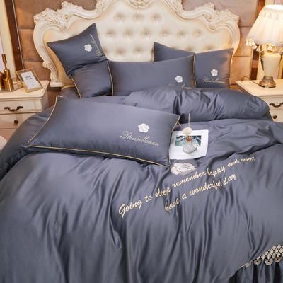 2020新款-60支长绒棉山茶花系列-床裙款四件套 床裙单层1.5米被套200*230cm 1-绅灰