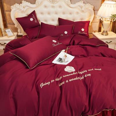 2020新款-60支长绒棉山茶花系列-床裙款四件套 床裙单层1.5米被套200*230cm 2..酒红色