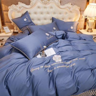 2020新款-60支长绒棉山茶花系列-床裙款四件套 床裙单层1.5米被套200*230cm 4.钴蓝色