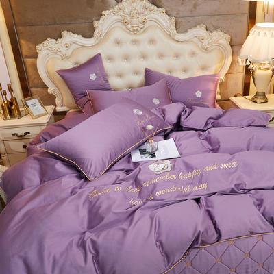 2020新款-60支长绒棉山茶花系列-床裙款四件套 床裙单层1.5米被套200*230cm 5..丁香紫