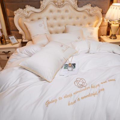2020新款-60支长绒棉山茶花系列-床裙款四件套 床裙单层1.5米被套200*230cm 7.米白色