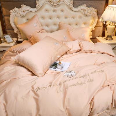 2020新款-60支长绒棉山茶花系列-床裙款四件套 床裙单层1.5米被套200*230cm 8.香槟金