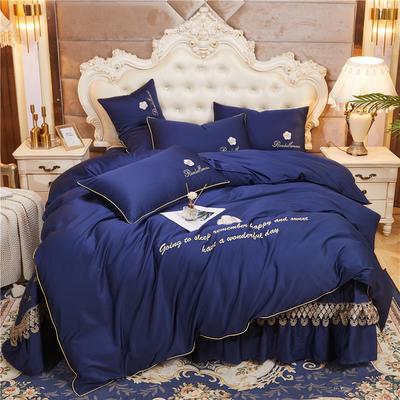 2020新款-60支长绒棉山茶花系列--床盖款四件套 床盖款四件套1.8m床盖270*250 宝蓝