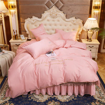2020新款-60支长绒棉山茶花系列--床盖款四件套 床盖款四件套1.8m床盖270*250 粉玉色