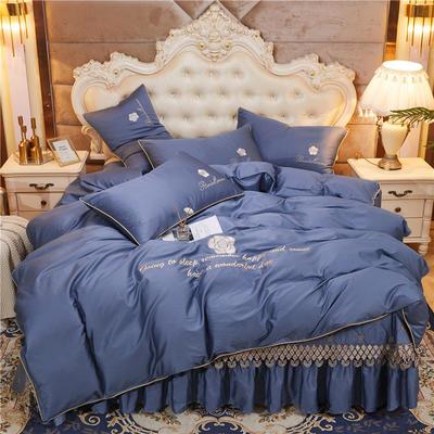 2020新款-60支长绒棉山茶花系列--床盖款四件套 床盖款四件套1.8m床盖270*250 钴蓝色