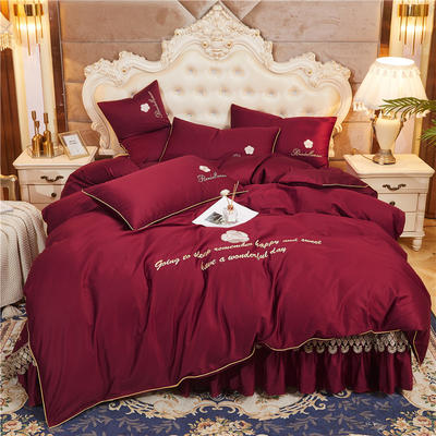 2020新款-60支长绒棉山茶花系列--床盖款四件套 床盖款四件套1.8m床盖270*250 酒红色