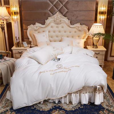2020新款-60支长绒棉山茶花系列--床盖款四件套 床盖款四件套1.8m床盖270*250 米白色