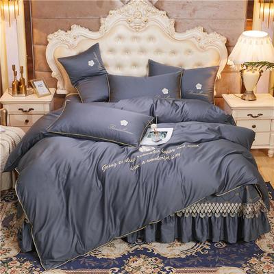 2020新款-60支长绒棉山茶花系列--床盖款四件套 床盖款四件套1.8m床盖270*250 绅灰