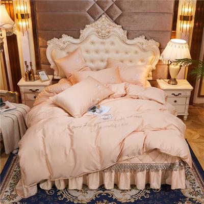 2020新款-60支长绒棉山茶花系列--床盖款四件套 床盖款四件套1.8m床盖270*250 香槟金