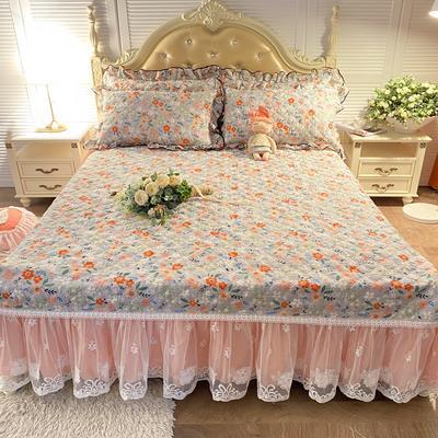 2020新款-小清新全棉蕾丝单品床裙实拍图 120*200+45CM 花漾