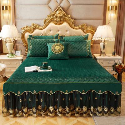 2020新款-水晶绒金色年华系列单品床裙 120*200+45 福绿