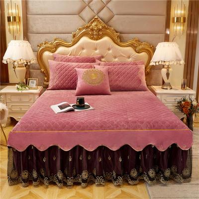 2020新款-水晶绒金色年华系列单品床裙 120*200+45 玫粉