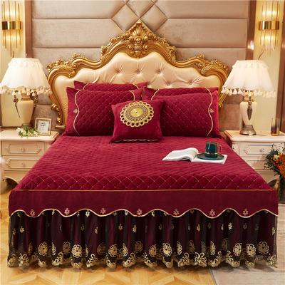 2020新款-水晶绒金色年华系列单品床裙 120*200+45 魅红