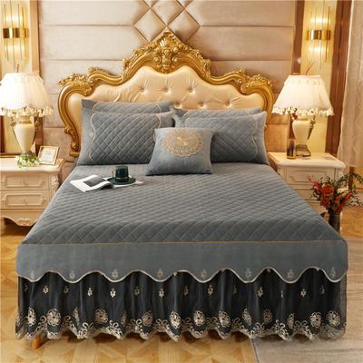 2020新款-水晶绒金色年华系列单品床裙 120*200+45 摩灰