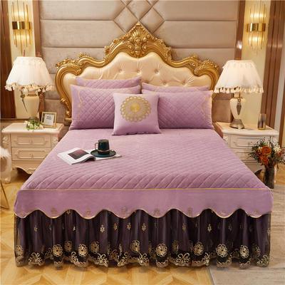 2020新款-水晶绒金色年华系列单品床裙 120*200+45 紫媚