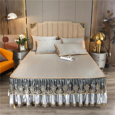 2021-新品-冰藤席-床裙款 180*200三件套 香妃银