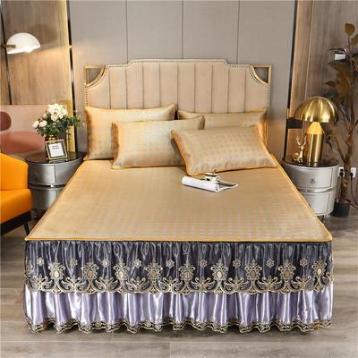 2021-新品-冰藤席-床裙款 180*200三件套 香妃紫