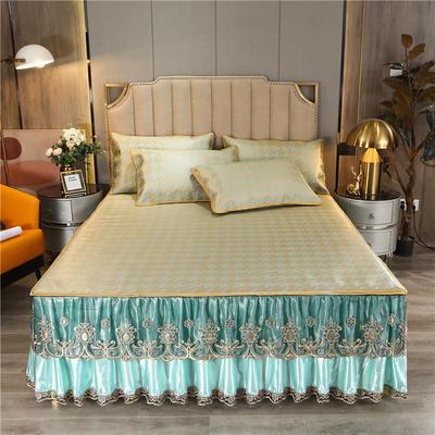 2021-新品-冰藤席-床裙款 180*200三件套 香妃绿
