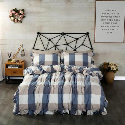 水洗棉床裙款四件套系列(蓝大格) 1.8m(6英尺)床 蓝大格