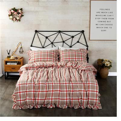 水洗棉床裙款四件套系列(丽维斯-红) 1.8m(6英尺)床 丽维斯-红