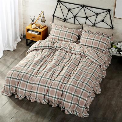 水洗棉床裙款四件套系列(丽维斯-绿) 1.8m(6英尺)床 丽维斯-绿