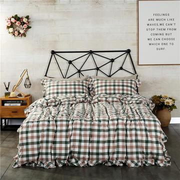 水洗棉床裙款四件套系列(莫里斯-绿)