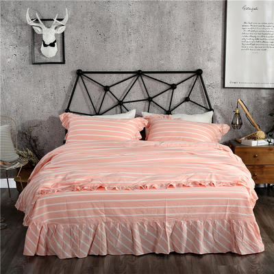 水洗棉床裙款四件套系列(莫妮卡-粉) 1.5m(5英尺)床 莫妮卡-粉