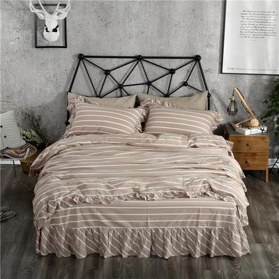 水洗棉床裙款四件套系列(莫妮卡-咖) 1.8m(6英尺)床 莫妮卡-咖