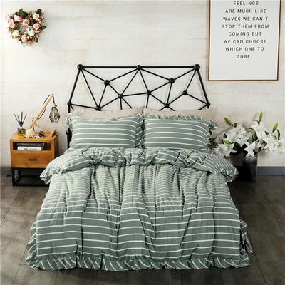 水洗棉床裙款四件套系列(莫妮卡-绿) 1.5m(5英尺)床 莫妮卡-绿