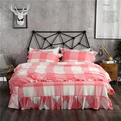 水洗棉床裙款四件套系列(玉大格) 1.8m(6英尺)床 玉大格