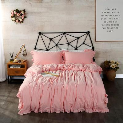 水洗棉床裙款四件套系列(中粉) 1.8m(6英尺)床 中粉