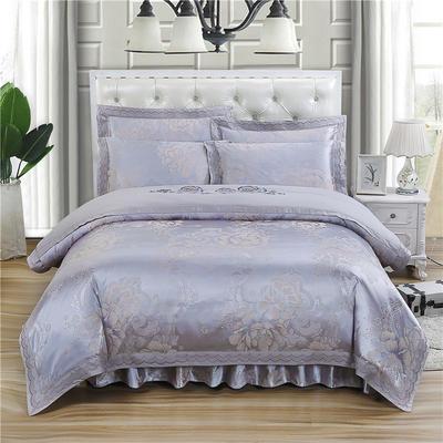 新款贡锻提花夹棉床裙床笠四件套(加棉型床裙四件)1.8m(6英尺)床 1.5m(5英尺)床 花团锦簇  银灰