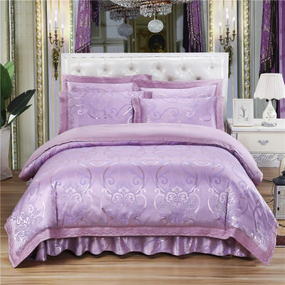 新款贡锻提花夹棉床裙床笠四件套(加棉型床裙四件)1.8m(6英尺)床 2.0m(6.6英尺)床 浅芳菲  ~粉紫