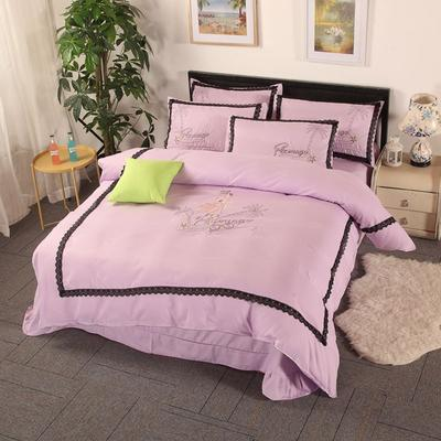 2019新款2春夏新品针织棉夏被四件套 1.5m(5英尺)床 火鸟魅惑紫