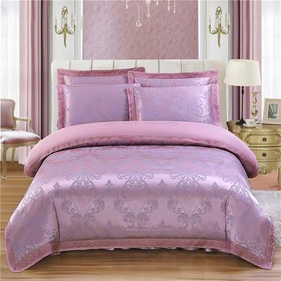 2019新款贡锻提花夹棉床裙床笠四件套(加棉型床裙四件) 标准(1.5m床四件套 标准 华丽城堡-粉紫