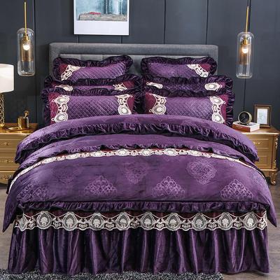 2019新款欧典情怀-水晶绒夹棉床裙四、六件套 1.5m床裙款四件套 紫色