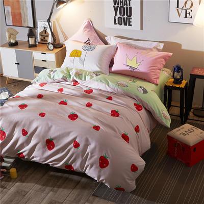 全棉磨毛混搭风 1.8米床 羞羞莓