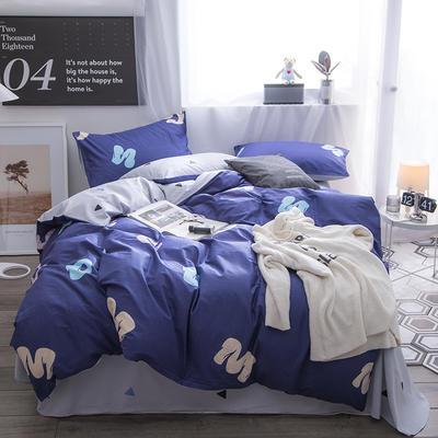 2018新款 全棉133*72圆网四件套 1.35m床及以下 蓝调